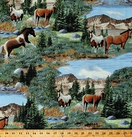 Cotton Wild Horses Paint Horse Equestrian Animals Mountains Nature Scenic Roaming Wild Cotton Fabric Print by the Yard (30169-472)