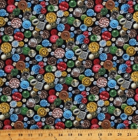 Cotton Buttons Tossed Sewing Supplies Seamstress A Stitch in Time Black Cotton Fabric Print by the Yard (568BLACK)