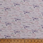 Cotton Paris France French Words Cursive Script Birds Stamps 1889 World Fair Paris in Bloom White Cotton Fabric Print by the Yard (APJ-71852-1WHITE)