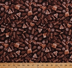 Cotton Chocolates Chocolate Candy Candies Sweets Treats Desserts Hearts Truffles Fudge Food Brown Cotton Fabric Print by the Yard (FP7107-542)