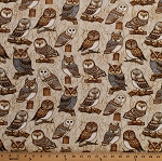 Cotton Owls Brown Owl Birds of Prey Barn Owls Great Horned Owls Nature Wildlife Tree Branches Where the Wise Things Are Cotton Fabric Print by the Yard (1649-26528-E)