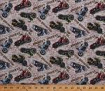 Cotton Motorcycles Motor Bikes Bikers Road Map Roadtrip Historic Route 66 Highway Travel Tourists Transportation United States America American Dream Ivory Cotton Fabric Print by the Yard (8740-041ivory)
