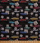 Cotton Classic Cars Vintage Vehicles Corvettes Thunderbirds Historic Route 66 Signs Maps Roads Roadtrip Highway Driving Travel Transportation United States Road Map American Dream Black Cotton Fabric Print by the Yard (8736-099black)