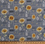 Cotton Bees Sunflowers Honey Jars Honeybees Insects Bugs Words Beekeeping Beekeepers Kitchen Bee My Sunshine Yellow Gray Cotton Fabric Print by the Yard (43314-1)