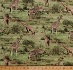 Cotton Giraffes Giraffe Animals Nature Wildlife Africa African Safari Savanna Grasslands Trees Born Free Scenic Green Cotton Fabric Print by the Yard (112-31921)
