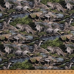 Cotton Otters Sea Otter Aquatic Marine Animals Scenic River Wildlife Stones Rocks Water Born Free Cotton Fabric Print by the Yard (112-31971)