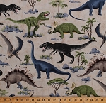 Cotton Dinosaurs Jurassic Animals T-Rex Pterodactyls Stegosaurus Triceratops Brachiosaurus Dinos Rocks Trees Reptiles Kids Cotton Fabric Print by the Yard (DINO-C5723-DINOSAUR)