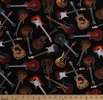 Cotton Guitars Acoustic Guitar Musical Instruments Musicians Black Cotton Fabric Print by the Yard (WEST-C1611-BLACK)