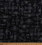 Cotton Vintage Airplanes Planes Blueprints Biplanes Diagrams Plans Flying Aviation Aviators Transportation Black Cotton Fabric Print by the Yard (ACV-15675-2BLACK)