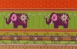 Cotton Mystic Forest Elephant Elephants Jungle Animal Bird Birds Flowers Flower Floral Stripe Orange Purple Pink Green White (3 Parallel Stripes) Cotton Fabric Print by the Yard (112-25951)