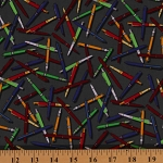 Cotton Academic Club Gray Pens Mechanical Pencils School Supplies Cotton Fabric Print by Yard (08073-11)