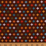 Cotton Remix Brown Cross Plus Signs Bermuda Cotton Fabric Print by Yard (AAK-14741-237)
