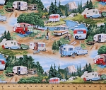 Cotton Vintage Trailers Campers Camping Outdoors RV's  Cotton Fabric Print by the Yard 3502 Green