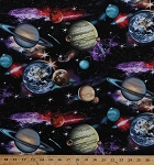 Cotton In Space Solar System Planets Universe Stars Moons Cotton Fabric Print by the Yard 1297 Black