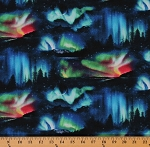 Cotton Landscape Medley Northern Lights Aurora Borealis Mountains Pine Trees Nightscape Cotton Fabric Print by the Yard (502-BLACK)