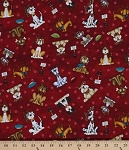 Cotton Dogs Dog Dish Animals Bulldog Great Dane Lab Poodle Beagle Canine Pet Rescue Red Cotton Fabric Print by the Yard (8482-88)