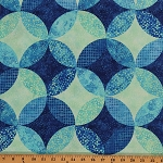 Cotton Ambience Coordinate Lagoon Blue Geometric Circles Dots Cotton Fabric Print by Yard (20708-44)