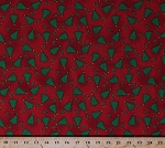 Cotton Christmas Trees Pine Trees Stars Leaves Winter Holidays Festive Red Cotton Fabric Print by the Yard (CP1025-542)