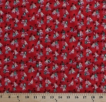 Cotton Christmas Bells Holly Winter Holidays Festive Light Red Metallic All Wrapped Up Cotton Fabric Print by the Yard (Y1490-4Mlightredmetallic)