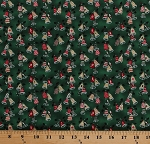 Cotton Christmas Bells Holly Winter Holidays Festive Dark Green Metallic All Wrapped Up Cotton Fabric Print by the Yard (Y1490-22Mdarkgreenmetallic)
