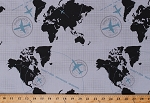 Cotton World Map Maps Continents Airplane Airplanes Planes Flight Routes Airlines Cartography Flying Immigration Words Travel Blue Gray Black Detour Cotton Fabric Print by the Yard (c3630-gray)