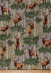 Cotton Elk Wapiti Deer Birch Trees Woods Forest Landscape Scenic Hunting Animals Nature Wildlife The Elk Gathering Cotton Fabric Print by the Yard (15524)