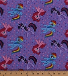 Cotton My Little Pony Characters Ponies Unicorns Pinkie Pie Rainbow Dash Twilight Sparkle Stars Kids Children's Girls Purple Cotton Fabric Print by the Yard (47002-c470715)