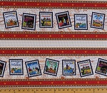 Cotton Quilt Across Texas U.S. Postage Symbols Stamps Mail Texas Cities (4 Parallel Stripes) Cotton Fabric Print by the Yard (9335-1)
