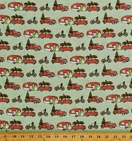 Cotton Christmas Campers Red Trucks Holiday Trees Transportation Holly Jolly Cotton Fabric Print by the Yard (13859-TURQ)