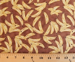 Cotton Monkey Business Gone Bananas Fruit Yellow Bananas on Brown Cotton Fabric Print by the Yard (rn-124655-13347)