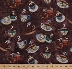 Cotton Coffee Mugs Cups Steaming Drinks Beverages Espresso Latte Java Cafe Baristas Coffee House Caffeine Brown Cotton Fabric Print by the Yard (y1889-15-brown)