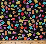 Cotton Tea Bags Tea Types Flavors Multi-Colored on Black Kitchen Breakfast Teatime Love's Brewing Cotton Fabric Print by the Yard (08095-12)