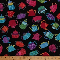 Cotton Teapots Kettles Multi-Colored Tea Pots on Black Kitchen Teatime Love's Brewing Cotton Fabric Print by the Yard (08094-12)