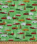 Cotton Christmas Trees Vehicles Trucks Vintage Cars Trailers Christmas Tree Farm Snow Snowflakes Winter Holidays Festive Swell Noel Green Cotton Fabric Print by the Yard (ack-15816-223-holiday)