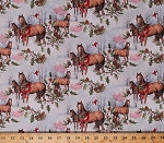 Cotton Christmas Horses Woods Scene Holly Leaves Berries Pine Cones Cardinals Holidays Winter Scenic Cotton Fabric Print by the Yard (64469-A520715)