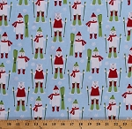 Cotton Polar Bears Skiing Skis Snowflakes Winter Christmas Holiday Frosty Friends Sky Blue Kids Cotton Fabric Print by the Yard (AHE-16656-63SKY)