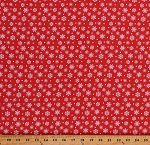Cotton White Snowflakes on Red Snowflake Christmas Winter Holiday Merry Forest Cotton Fabric Print by the Yard (13901-RED)