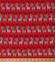 Cotton Reindeer with Scarves Christmas Animals Holiday Festive Kids Merry Forest Cotton Fabric Print by the Yard (13907-RED)