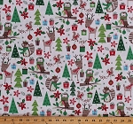 Cotton Christmas Woodland Friends Animals on Cream Festive Foxes Owls Reindeer Holiday Merry Forest Kids Cotton Fabric Print by the Yard (13903-CREAM)