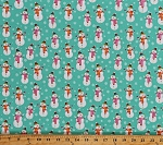 Cotton Cute Snowmen Snowman Snowflakes on Turquoise Blue Christmas Holiday Festive Merry Forest Kids Cotton Fabric Print by the Yard (13899-TURQ)