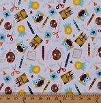 Cotton Colorfully Creative Crayola Crayons Paints Glue Scissors Owl Cotton Fabric Print by the Yard C5400 White