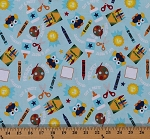 Cotton Colorfully Creative Crayola Crayons Paints Glue Scissors Owl Cotton Fabric Print by the Yard C5400 Blue