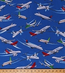 Cotton Planes Airplanes Flying Air Travel Transportation Aviation Commercial Planes on Blue Cotton Fabric Print by the Yard (GM-C5889-blue)