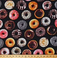 Cotton Donuts Assorted Doughnuts Pastries Food Sweets Bakery Black Cotton Fabric Print by the Yard (FOOD-C5644-DONUT)