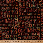 Cotton Thanksgiving Words Sayings Fall Autumn Autumnal Harvest Pumpkins Turkeys Leaves Apples Give Thanks Black Cotton Fabric Print by the Yard (8568-099black)