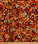 Cotton Flowers Coneflowers Echinacea Sunflowers Blossoms Blooms Autumn Fall Colors Gold Metallic Shimmer Glitter Sun Valley Sun Dance Rust Cotton Fabric Print by the Yard (8648M-88)