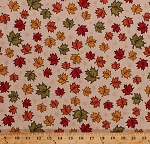 Cotton Maple Leaves Fall Autumn Leaf Toss Thanksgiving Autumnal Landscape Ivory Cotton Fabric Print by the Yard (62714-7920715)