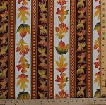 Cotton Autumn Leaves Leaf Stripe Maple and Oak Leaves Berries Autumnal Fall (6 Parallel Stripes) Cotton Fabric Print by the Yard (AFEM-72833-191AUTUMN)