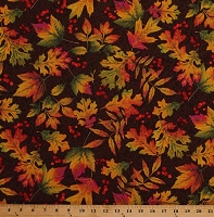 Cotton Autumn Leaves Leaf Colorful Gold Metallic Falling Maple and Oak Leaves on Brown Autumnal Fall Cotton Fabric Print by the Yard (AFEM-72832-16BROWN)