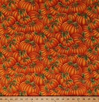 Cotton Pumpkins Allover Fall Autumn Autumnal Harvest Thanksgiving Orange with Gold Metallic Shimmer Cotton Fabric Print by the Yard (HJ-CM5776)
